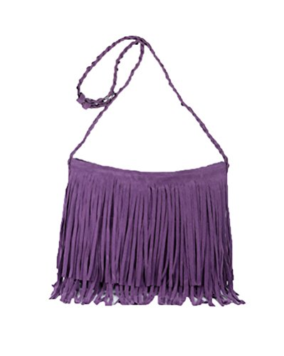 Women Novelty Tassel Fringe Messenger Bag Handbag Purse Faux Suede Shoulder Crossbody Bags Sling Bag (Purple)