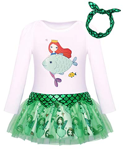 HenzWorld Little Mermaid Romper Dress Baby Skirt Girls Princess Halloween Scale Headband 6-12 Months