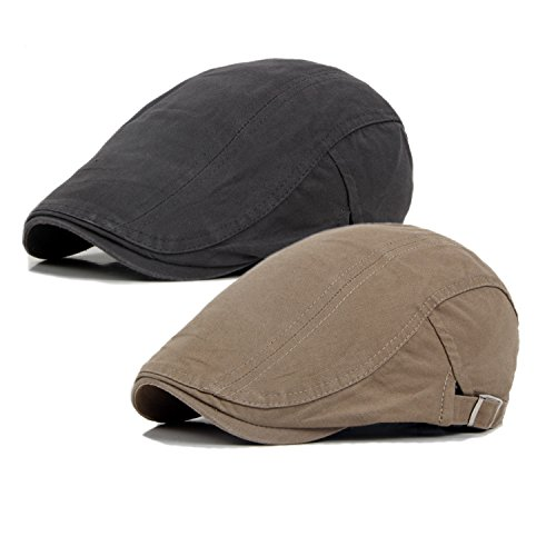 Qossi 2 Pack Men's Cotton Flat Cap Ivy Gatsby Newsboy Hunting Driving Hat ()