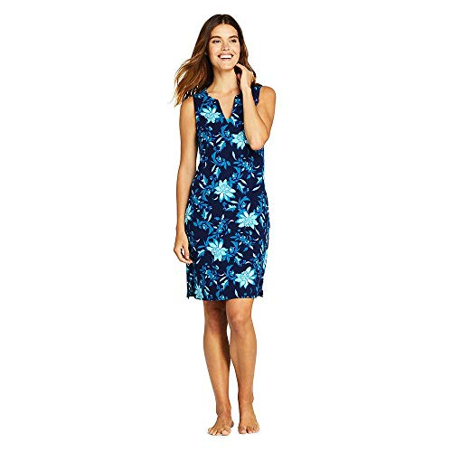 otton Jersey Sleeveless Tunic Dress Swim Cover-up Print, M, Deep Sea Florenza Floral ()