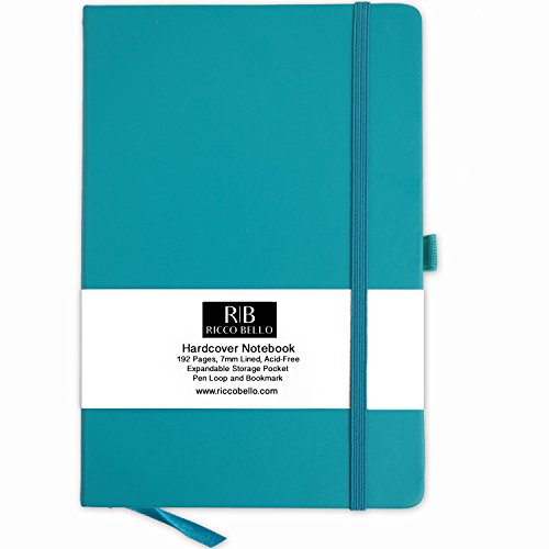 Hardbound Journal - Classic Ruled Notebook with Pen Loop/RICCO BELLO Hardcover, Banded, Bookmark, Expandable Pocket/5.7 x 8.4 inches (Teal)