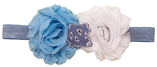 (Divine Creations NCAA North Carolina Tar Heels UnFRAYgettable Flower Baby Headband, One Size, Light Blue)