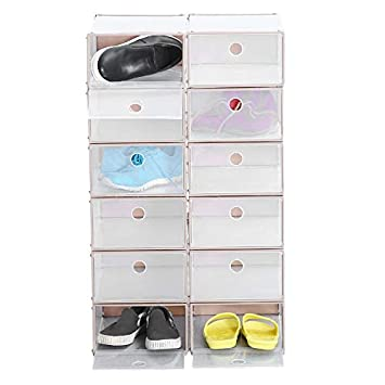 Homgrace 12 Cajas de Zapatos de Plástico Transparente Apilable Zapatero de Almacenaje Cajón Organizador 23 x 33 x 13 CM: Amazon.es: Hogar