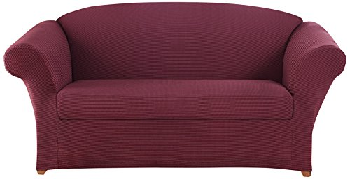 SureFit Two Tone Stretch Honeycomb 2-Piece - Loveseat Slipcover - Burgundy (Slipcover Burgundy)