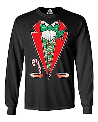 Shop4Ever® Tuxedo Christmas Costume Long Sleeve Shirt Funny Xmas Shirts