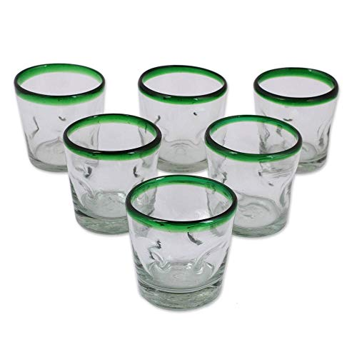 NOVICA Artisan Crafted Clear Green Rim Hand Blown Recycled Glass Tumbler Glasses, 9 oz. Lime Freeze (set of 6)