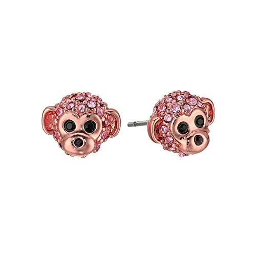 Women Girls Exquisite Golden Monkey Head and CZ Rhinestone Stud Earrings,Cute Animal Earrings For Women Girls