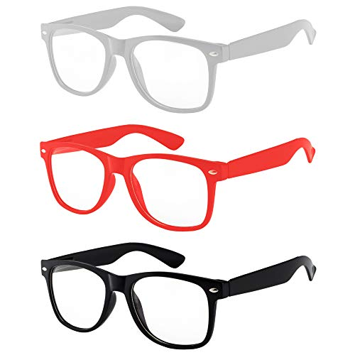 Dynamite Napoleon Kip Accessory - OWL - 80s Style Glasses for Women and Men - Clear Lens - White + Red + Black (3 Pack)
