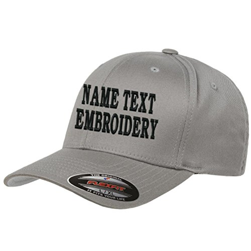 Custom Embroidery Hat Personalized Flexfit 6277 Text Embroidered Baseball Cap - Grey ()