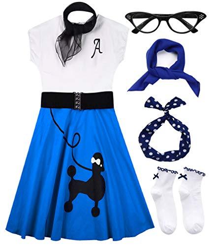 Hofolio 1950s Women Poodle Skirt Scarf Sock Costume Set