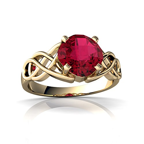(14kt Yellow Gold Lab Ruby 6mm Cushion Celtic Knot Ring - Size 7)