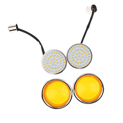 Perfeclan Orange LED Flowing Motorcycle Turn Signal Light ,Pair Front/Rear Turn Signal Blinker Lights Indicator Lamp Universal:
