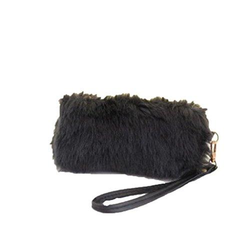 Tongshi Nueva mujeres calientes bolso bandolera peluche bolso bolso de mano cartera Negro