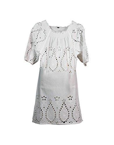 Home Line Vestido de niña de color blanco 100% algodón (Tallas 4,6,8 y 10 años) - 4 años