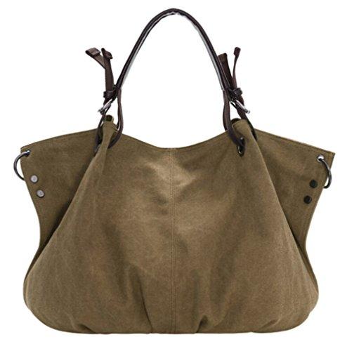 Bolso DATO Hombro Multifuncional Moda Totalizador Shoppers para Hobo Bandolera Mujer Khaki de de Bolsos Lona Bolsos Tote Grande Retros Bolso rAqt0A