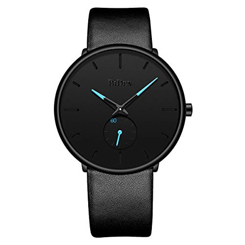 Tamlee Fashion Minimalist Quartz Analog Mens Watches with Black Leather Strap Waterproof Ultra Thin Wrist Watch in Black Face and Blue Sub Dial ()