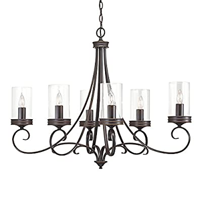 Diana 35.98-in 6-Light Olde Bronze Williamsburg Clear Glass Candle Chandelier