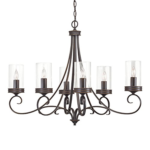 Kichler Diana 35.98-in 6-Light Olde Bronze Williamsburg Clear Glass Candle Chandelier