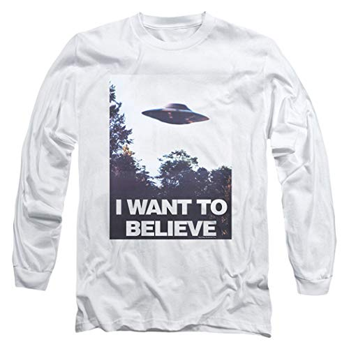 X-Files I Want to Believe Aliens UFO Longsleeve T Shirt & Stickers (Medium) White (Want Tshirt To Xfiles I Believe)