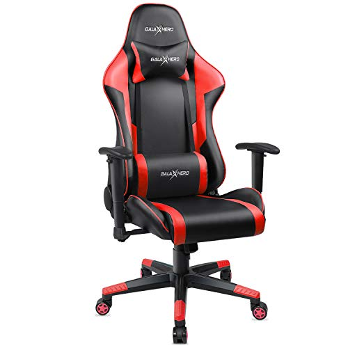 GALAXHERO Ergonomic Racing Style Gaming Chair, PU Leather High-Back Swivel Chair with Headrest and Lumbar Support, Red GALAXHERO