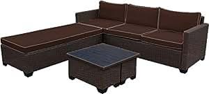 Cierre–5piezas de profundidad asiento ratán al aire libre Patio conversión Set