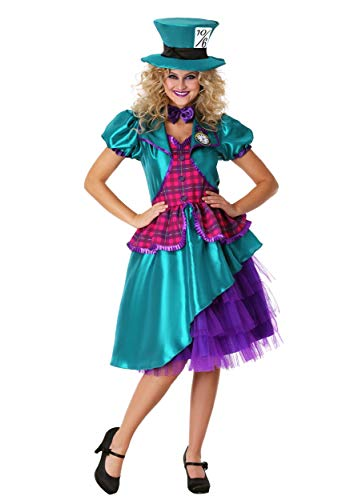 Women's Plus Size Teal Hatter Costume 1X]()