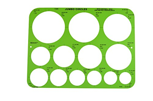 - Westcott Jumbo Circles Geometric Template, 8-3/4 x 11-1/2 Inches