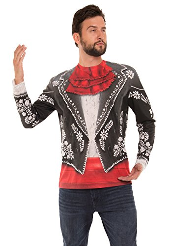 Faux Real Men's Mariachi Suit Printed Long Sleet T-Shirt, Black, S - Mariachi Fancy Dress