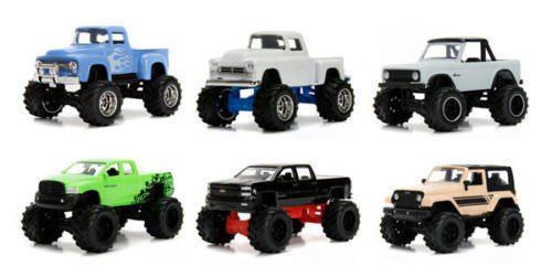 1956 Chevy Stepside - NEW 1:64 JADA TOYS JUST TRUCKS COLLECTION - JUST TRUCKS WAVE 17 ASSORTMENT SET OF 6pcs (Offroad) Diecast Model Car By Jada Toys Set of 6 Cars