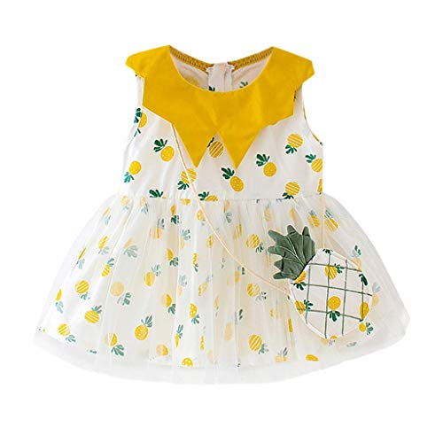 Prima Petites Scrapbook - Toddler Kid Baby Girl Summer Dress Plaid Fruit Printed Party Princess Dress Clothing Beach ni Sundress 6-24M Yellow