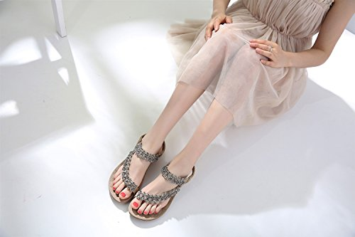 2018 Flower Flats Marrone National Large Sandali New Bohemian Size XIAOQI qax4Zqr