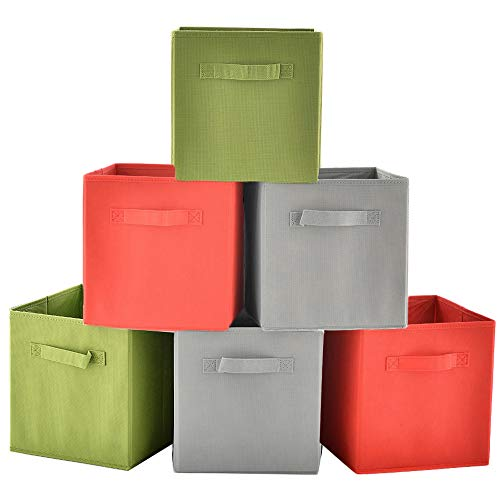 VCCUCINE Practical Foldable Fabric Cube Storage Bins, Halloween Clothes Drawer Organizers [6-Pack,3 Colors]