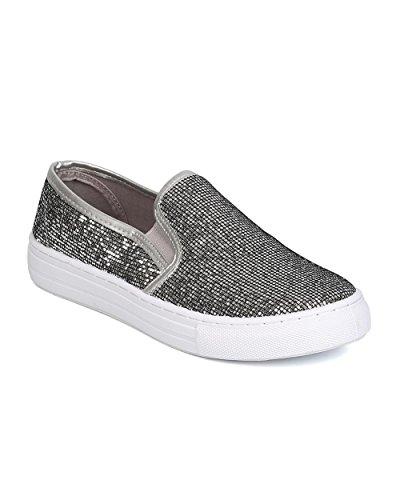 Qupid GK19 Women Glitter Leatherette Round Toe Slip On Sneaker – Pewter (Size: 8.5)