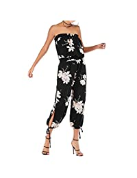 Duevin Womens Off Shoulder Backless Floral Printed Chiffon Jumpsuit Casual Pants