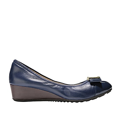 Cole Haan Women's Emory Bow Wedge (40MM) Pump, Marine Blue Leather, 9.5 B US