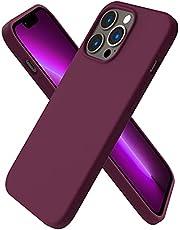 """ORNARTO Compatibel met iPhone 13 Pro Case 6.1, Slanke Vloeibare Siliconen 3 Lagen Volledige Bedekt Zachte Gel Rubber Case Cover 6.1"""" WineRed"""