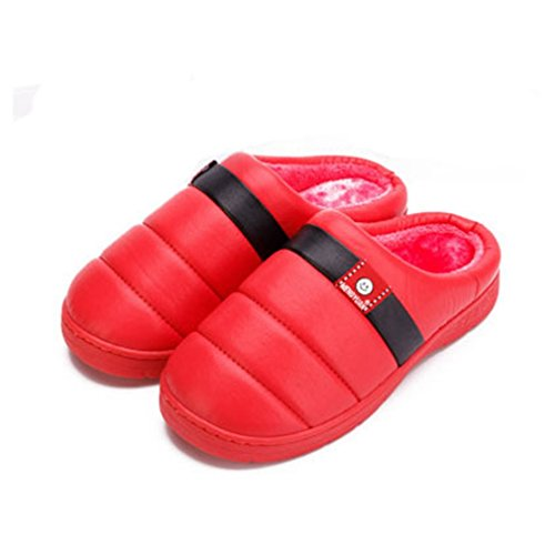 Giy Inverno Caldo Donna Uomo Coppie Pantofole Morbide Coperte Peluche Accogliente Antiscivolo Pantofole Casa Di Famiglia Pantofole Rosso