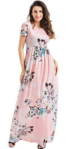 Roswear Women's Summer Casual Round Neck Ruched Short Sleeve Floral Maxi Dress with Pockets Light Pink (Twenties Dresses For Sale)