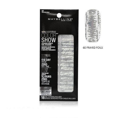 (Maybelline Limited Edition Color Show Fashion Prints Mirror Effect Nail Stickers - 60 Frayed Foils)