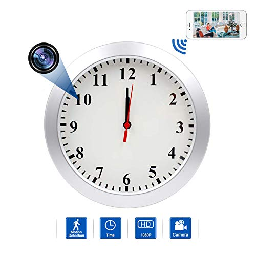 Hidden Camera Wall Clock Camera WIFI Spy Camera, NANIBO 1080P Nanny Cam DVR with Motion Detection,Real-Time Covert Clock Security Camera Monitor for Home and Office Covert Wall Clock Camera