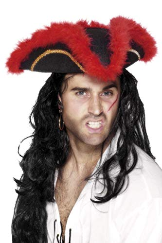 Smiffy's Pirate Tricorn Hat Feather Braid And Marabou - Red/black And Gold ()