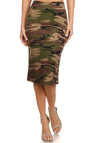 Women's Below the Knee Pencil Skirt for Office Wear - Made in USA Army Print Small