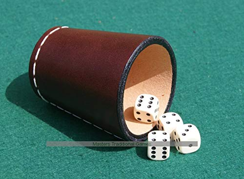 David Westnedge Handmade Leather Dice Cup with 4 Dice