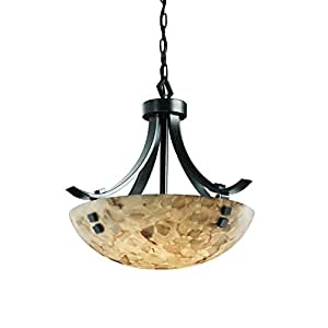 """Justice Design Group ALR-9751-35-DBRZ-F5 Alabaster Rocks! Collection Flat Bars 18"""" Pendant Bowl Celling Light Fixture with Finials"""