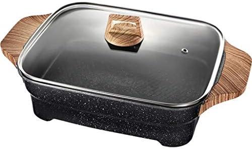 Zryh Poêlon & poêle à frire polyvalente électrique - Poêle à frire antiadhésive avec contrôle de la température et couvercle en verre trempé, noir