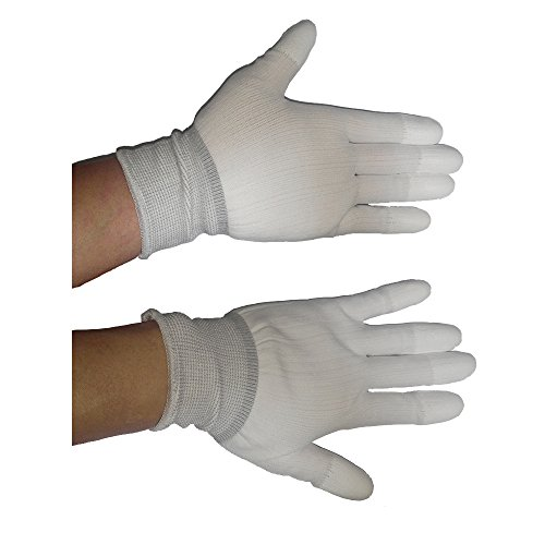 (2 Pair) (LARGE) Finger Tip Coated PU Gloves , CleanRoom ,Sewing , (Machingers Gloves)