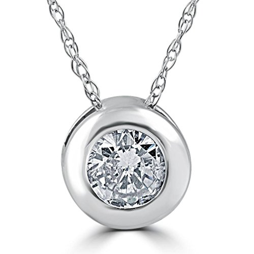 - 5/8ct Round Bezel Solitaire Real Diamond Pendant 14K White Gold