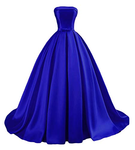 Dymaisei Women's Strapless Ball Gown Prom Party Dresses 2019 Long Formal Dresses US4 Royal Blue