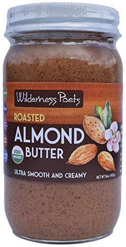 Wilderness Poets, Roasted Almond Butter - Organic Creamy Nut Butter (16 Ounce) Almonds 16 Oz Jar