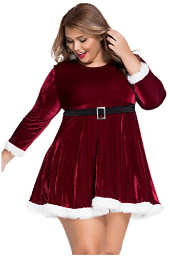 [Prettywell Womens Cosplay Long Sleeve Plus Size Santa Dress Stage Outfit 7282] (Plus Size Easter Bunny Costumes)